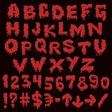 Red font smudges. alphabet splashing