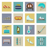 Winter sports flat icons set with shadows