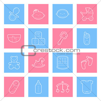 Baby lines icons set