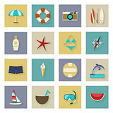 Beach vacation and travel flat icons set with shadows