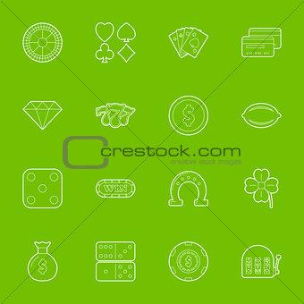 Casino thin lines icons set