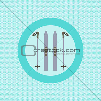 Skis and ski poles flat icon