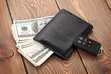 Money cash wallet and car remote key
