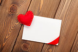Photo frame or greeting card and handmaded valentines day heart