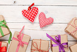 Valentines day toy hearts and gift boxes