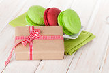 Valentines day gift box and colorful macarons