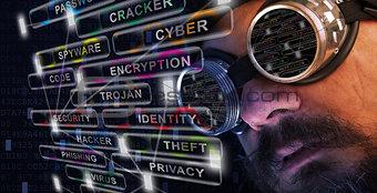 Shag beard and mustache man study cyber security