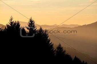 beautiful sunset over mountain range