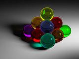 colorful glass ball pyramide