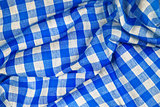 Blue and white wrinkled checkered Bavarian tablecloth