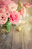 Bright vintage background with roses and bokeh