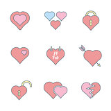 various color outline heart icons set