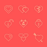 various red color outline heart icons set