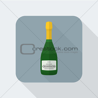 flat style champagne bottle icon with shadow