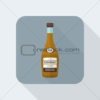 flat style cognac bottle icon with shadow