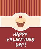 Happy valentines day vector card with cake