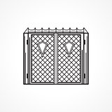 Line vector icon for iron gates