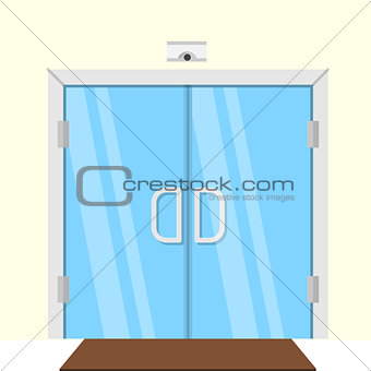 Flat vector illustration of transparent glass door
