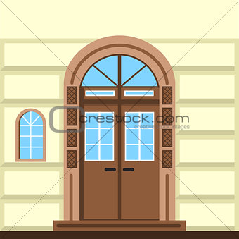 Flat vector illustration of commerce building facade door