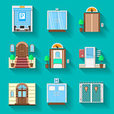 Flat icons vector collection for entrance doors