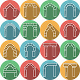 Set of colored flat vector icons for archway