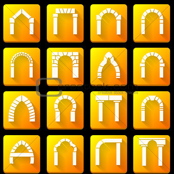 Flat icons vector collection for archway