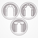 Vector illustration of three types brick arch icon