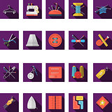 Flat color icons vector collection of sewing