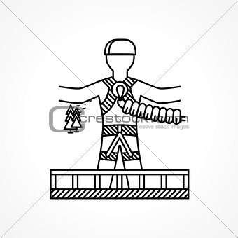 Abstract vector icon for extreme sport. Rope jumper.