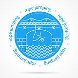 Vector illustration with round blue icon and text for rope jumping.