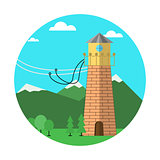 Flat colored vector icon for rope jumping