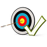 Arrow, tick and board