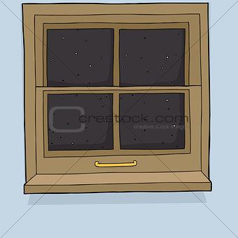 Cartoon Window with Evening View