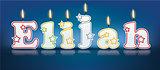 ELIJAH written with burning candles
