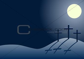 three crosses on Calvary at night
