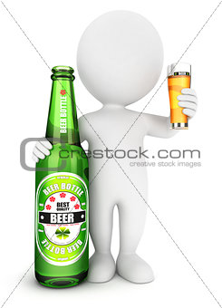 3d white people beer bottle