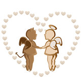 Angel and devil holding hands-vector illustration