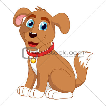 Cartoon smiling puppy, vector illustration of cute dog