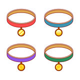Colorful collars with different round gold tags