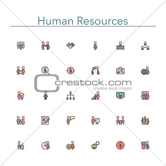 Human Resources Colored Line Icons