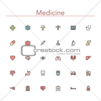 Medicine Colored Line Icons