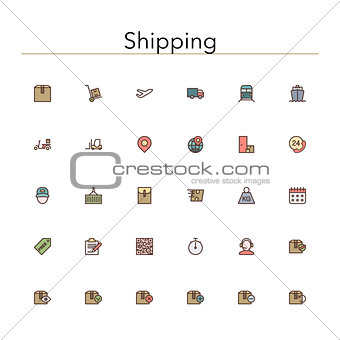 Shipping Colored Line Icons