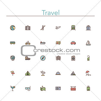 Travel Colored Line Icons
