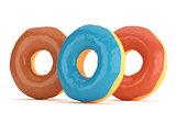 Three donuts in color glaze