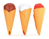 Three ice creams in waffle cones