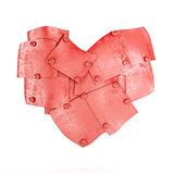 Metal plates in heart shape