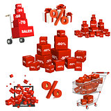 Set of red boxes with the goods at a discount