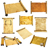 Set of scrolls of old parchment