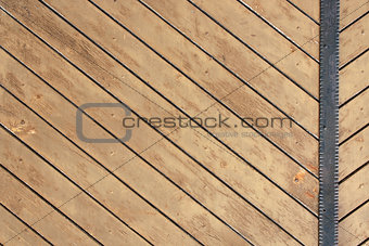 Ancient wood with metal plank