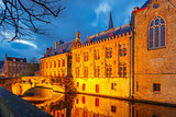Brugse Vrije and the Green canal in Bruges at night